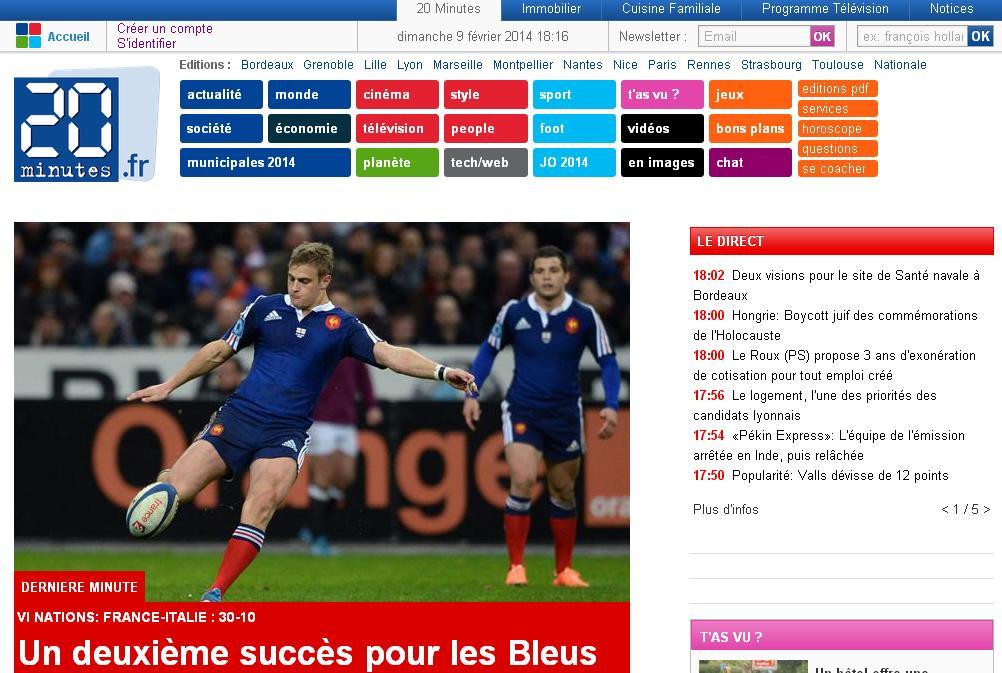 20minutes.fr 20 Minutes information en continu Actualités pdf Sudoku Paris RSS
