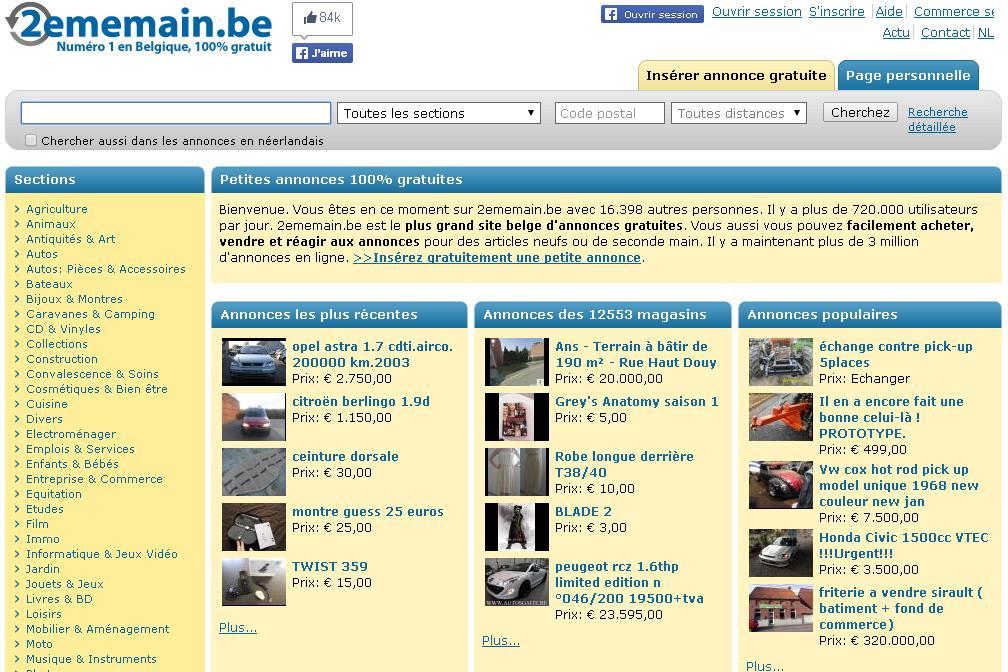 2dehands.be Annonces gratuites Belgique Auto gratis fietsen winkels gsm français