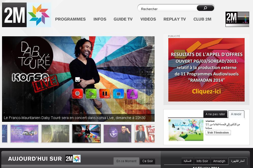 2m.ma Chine TV 2M Maroc en direct regarder 2MTV live replay meteo akhbar choumicha