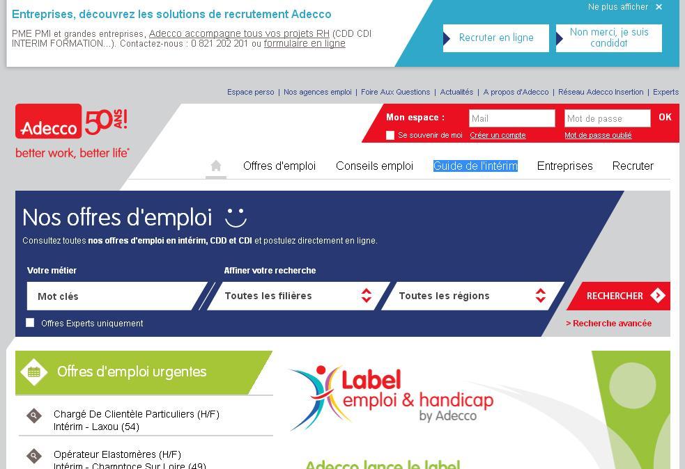 adecco.fr Offres d'emploi interim medical tertiaire expert à domicile France travail en ligne