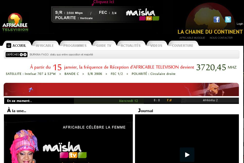 africabletelevision.com Chaine Africable tv en direct Fréquence replay La chaine du continent