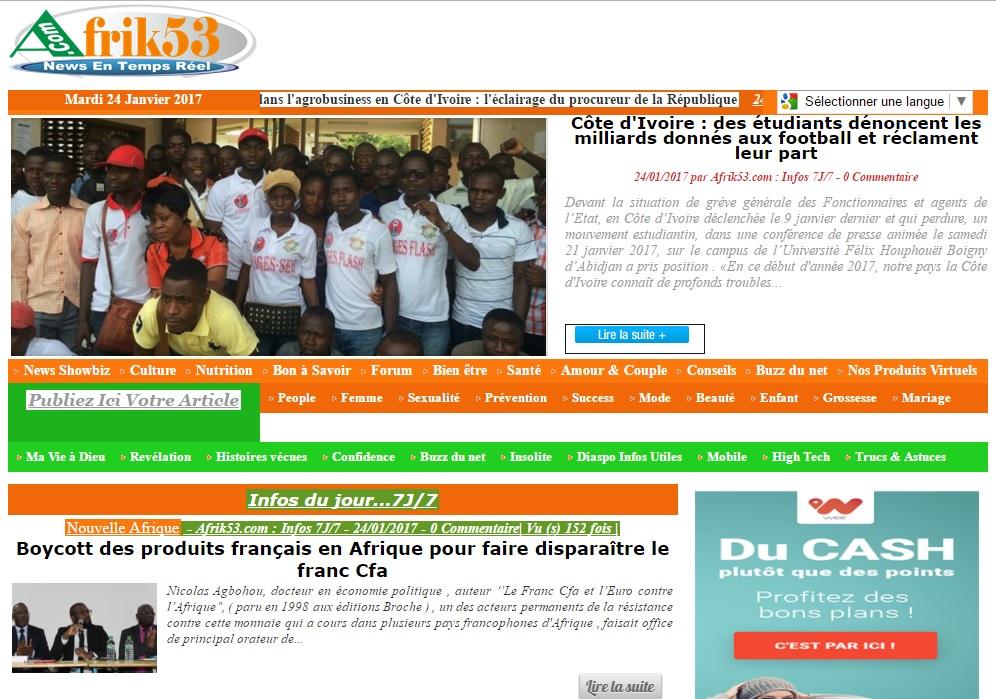 afrik53.com Journal afrik 53 actualité du jour au cote d'ivoire titrologie d'aujourd'hui abidjan ci