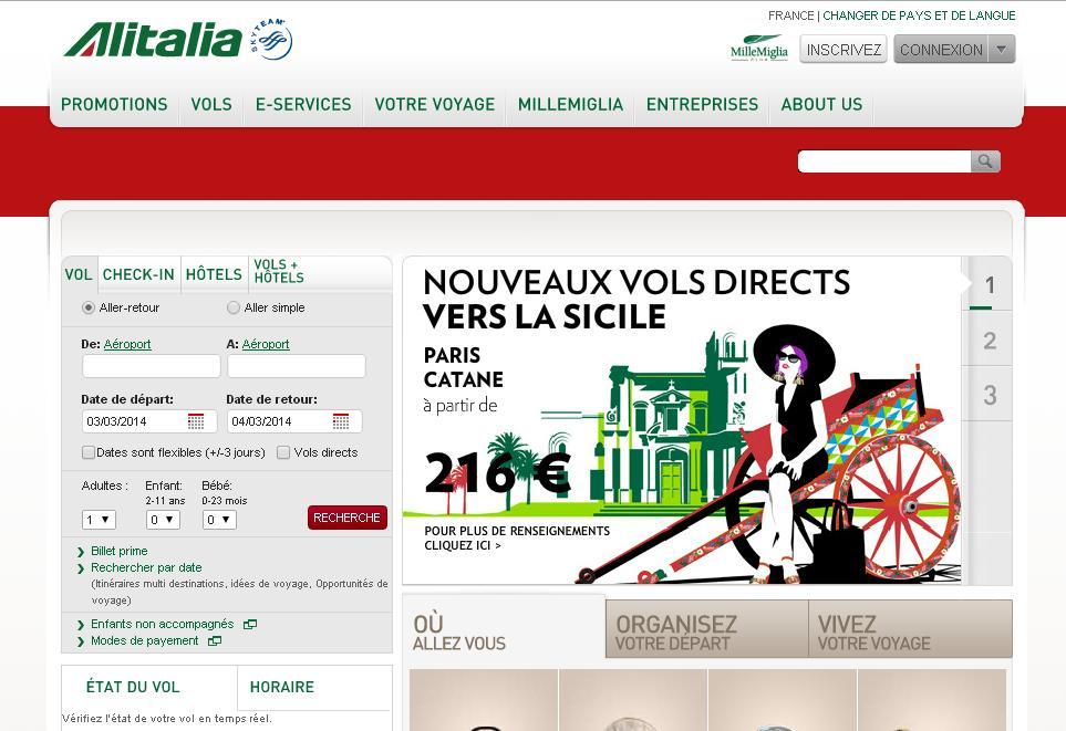 alitalia.com Air italia check in Billets d'avion vols Rome Milan