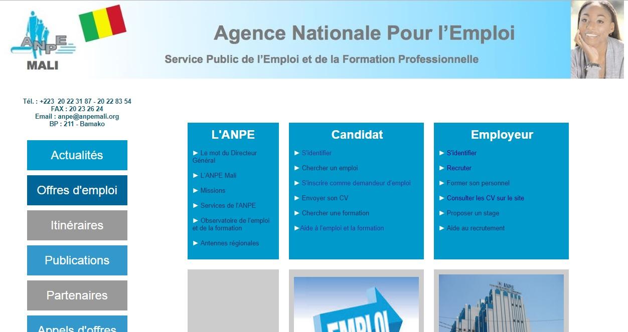 anpe-mali.org Agence nationale pour l'emploi ANPE Mali appel d'offre