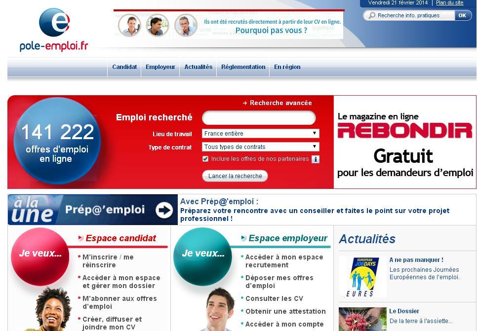 anpe.fr Pôle d'emploie France travail offres demandes espace formation inscription actualisation