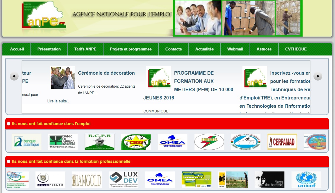 anpe.gov.bf Agence Nationale pour l'Emploi ANPE recrutement Burkina Faso offre d'emploi Ouagadougou