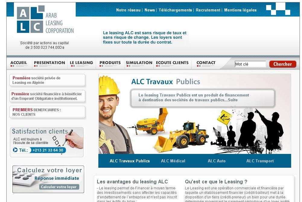arableasing-dz.com Arab Lasing Corporation bank algerie Annaba Setif Alger Banque ALC
