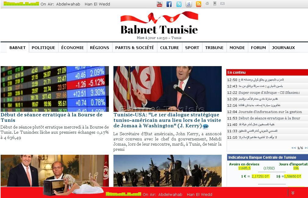 babnet.net Tunisie Bab net Portail Presse généraliste Actualités Sport Politique Radio journaux