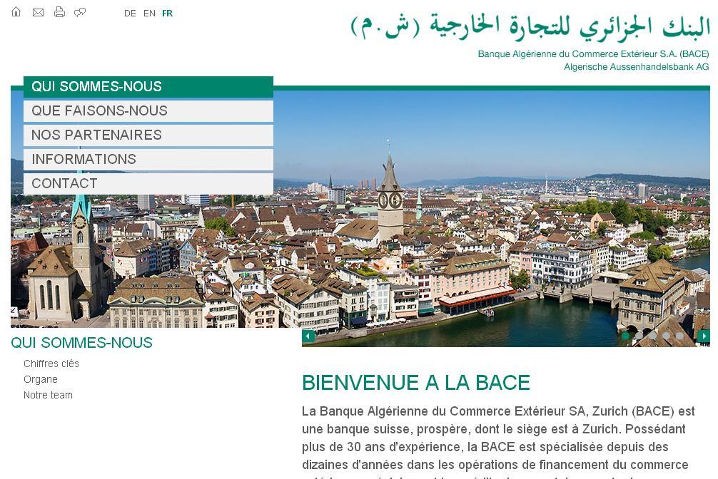 bace.ch Banque Algérienne du Commerce Extérieur Zurich Europe Export Import dz Gaz