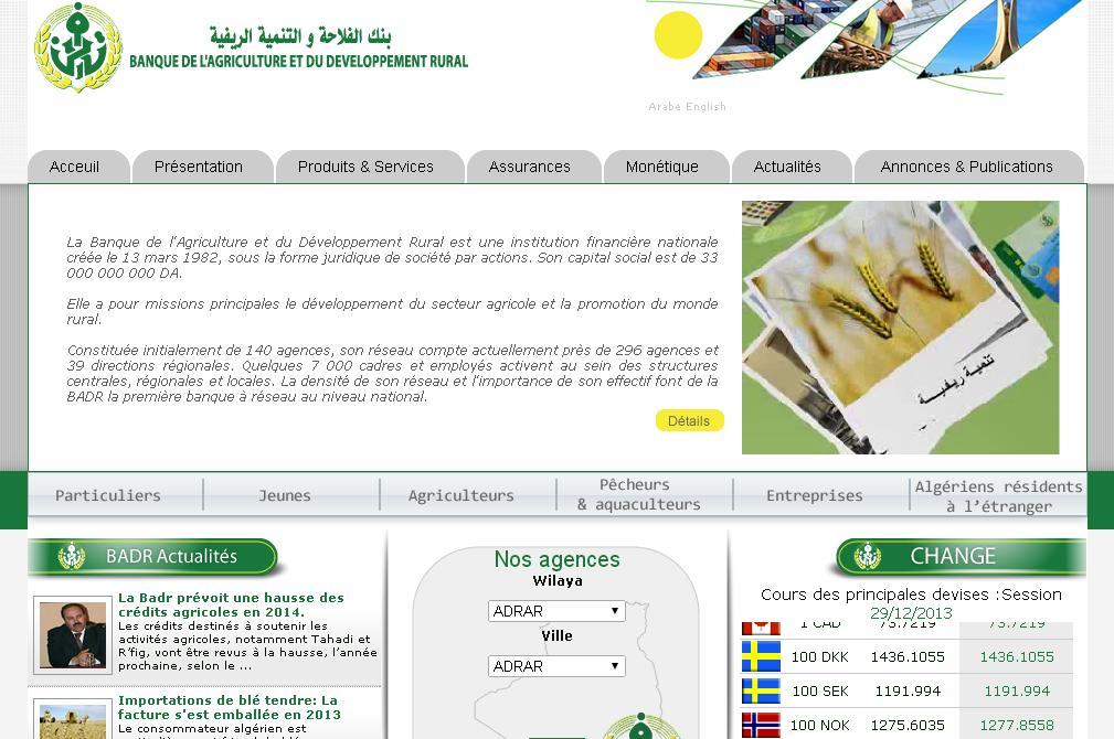 badr-bank.dz Banque de l'Agriculture et du Développement Rural BADR Algérie