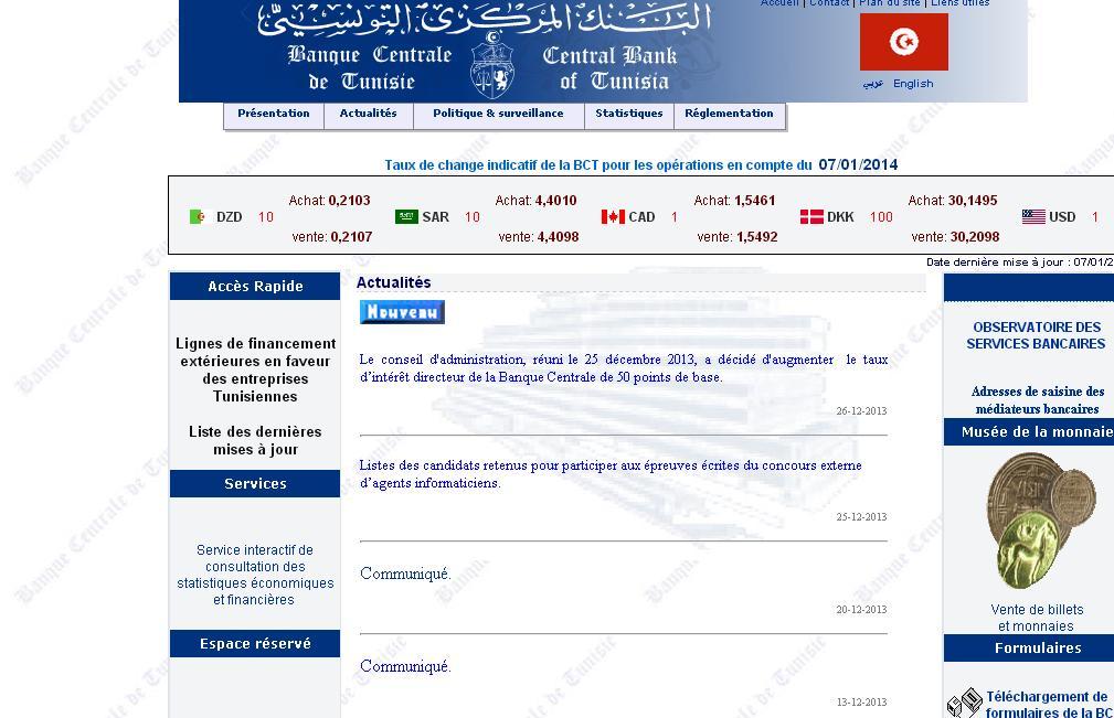 bct.gov.tn Banque Centrale de Tunisie Gov TN