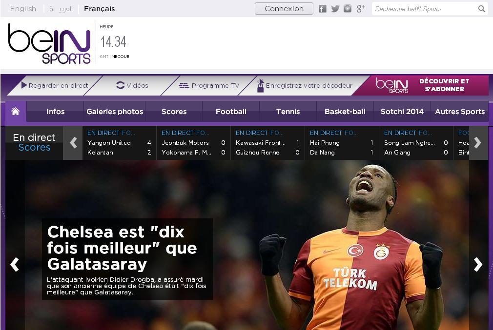 beinsports.net Nouvelle télé beIN Sport tv fréquence arabia live free arab en streaming programme direct replay beinsport