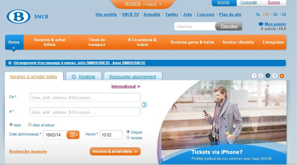 belgianrail.be Chemins de fer de Belgique nmbs horaire sncb réservation billets en ligne train railtime international
