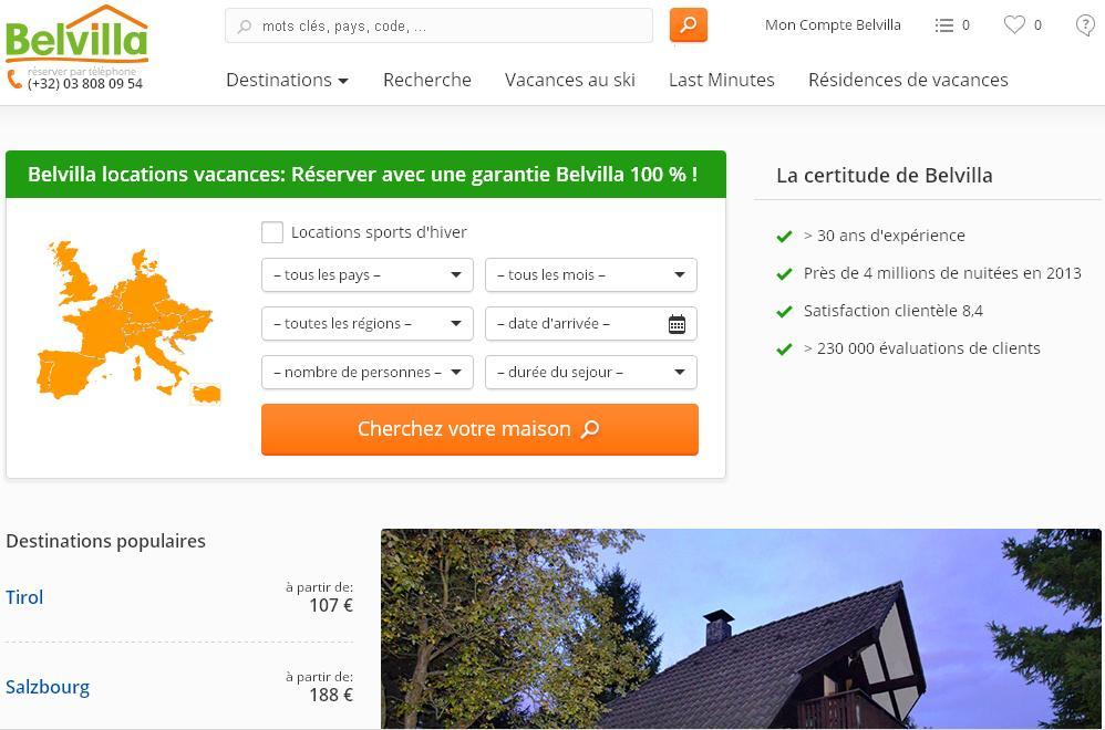 belvilla.be Belle villa Locations de vacances Belgique Espagne autriche italie hollande pays bas france