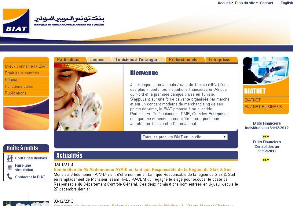 biat.com.tn Banque Internationale Arabe de Tunisie