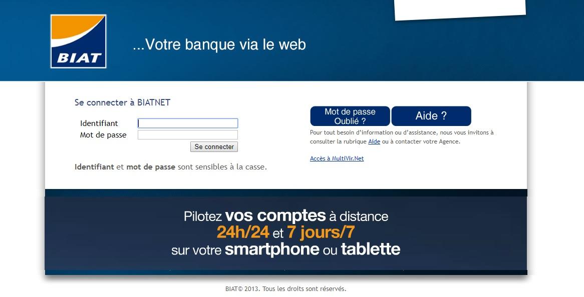 biatnet.com.tn Banque International Arabe de la Tunisie BIAT net com tn authentification compte virement change crédit