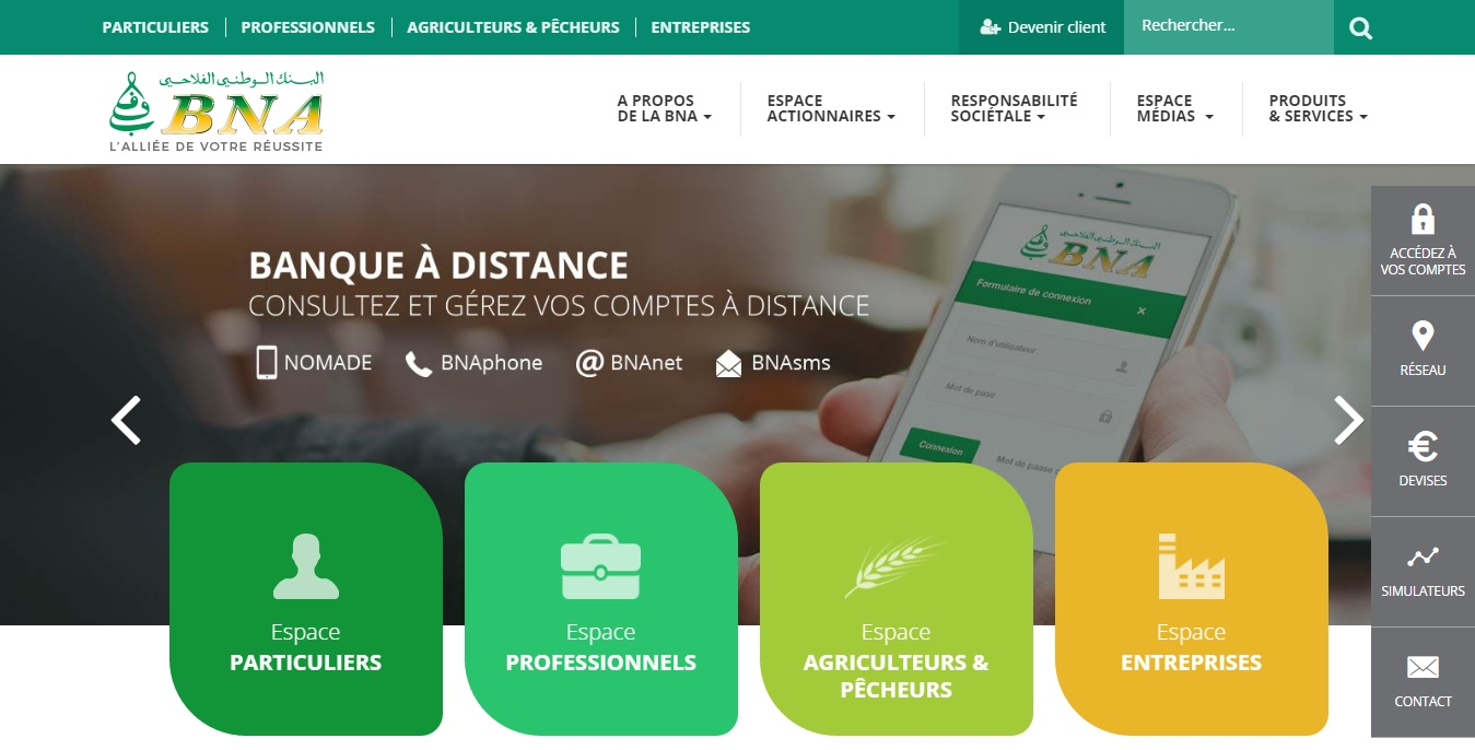 bna.com.tn Banque Nationale Agricole Tunisien Net cours devise Change