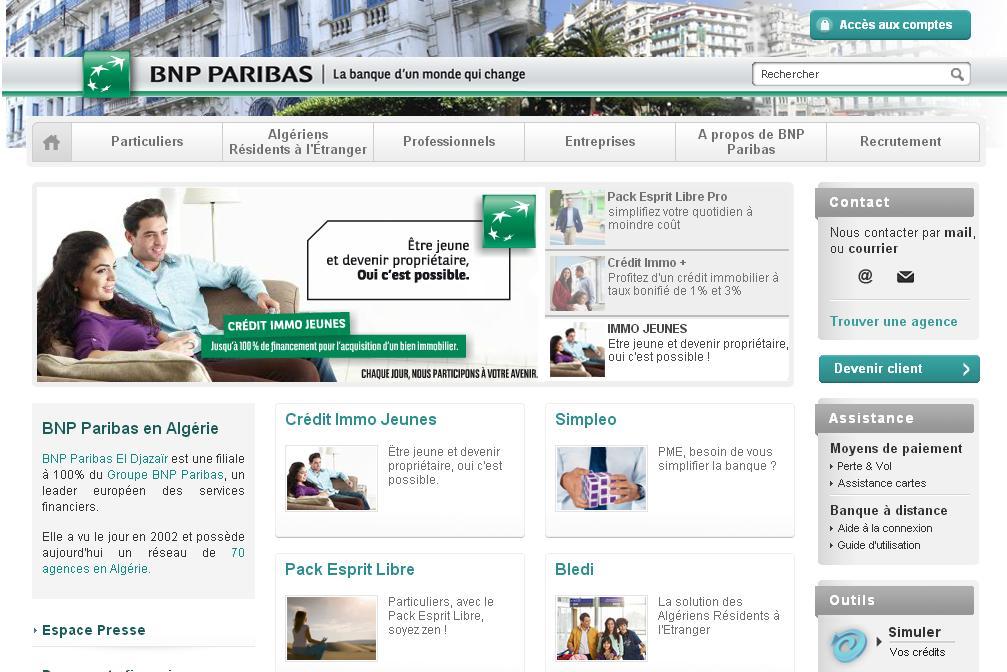bnpparibas.dz Banque Nationale Populaire BNP Dz Algérie BNPParis net