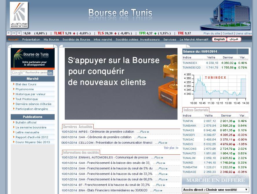 bvmt.com.tn Bourse des valeurs de Tunis Actions Tunindex en ligne Tunisie Leasing