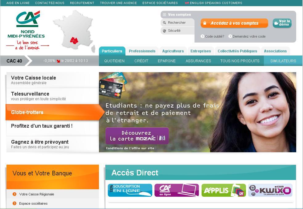 ca-nmp.fr Crédit Agricole Nord Midi Pyrénnées banque en ligne consultation comptes bancaires canmp villefranche de rouergue