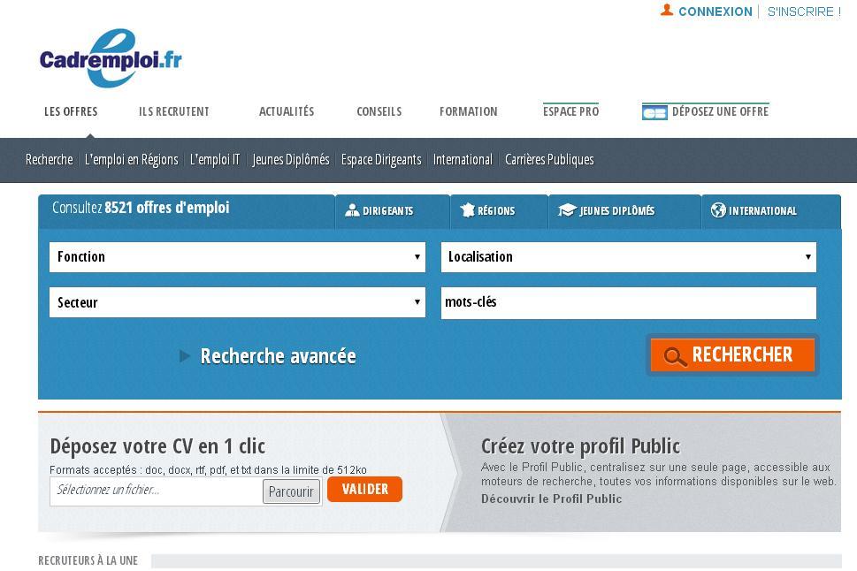 cadremploi.fr offres d'emploi demande interim saisonnier stage suisse maroc international CV