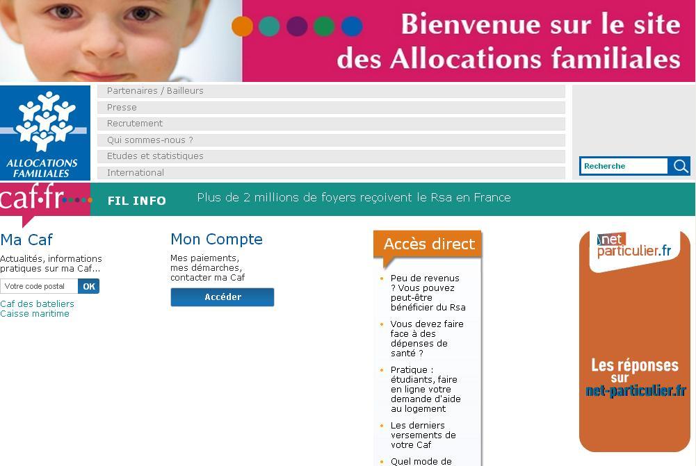 caf.fr CNAF caisse nationale des Allocations familiales FR