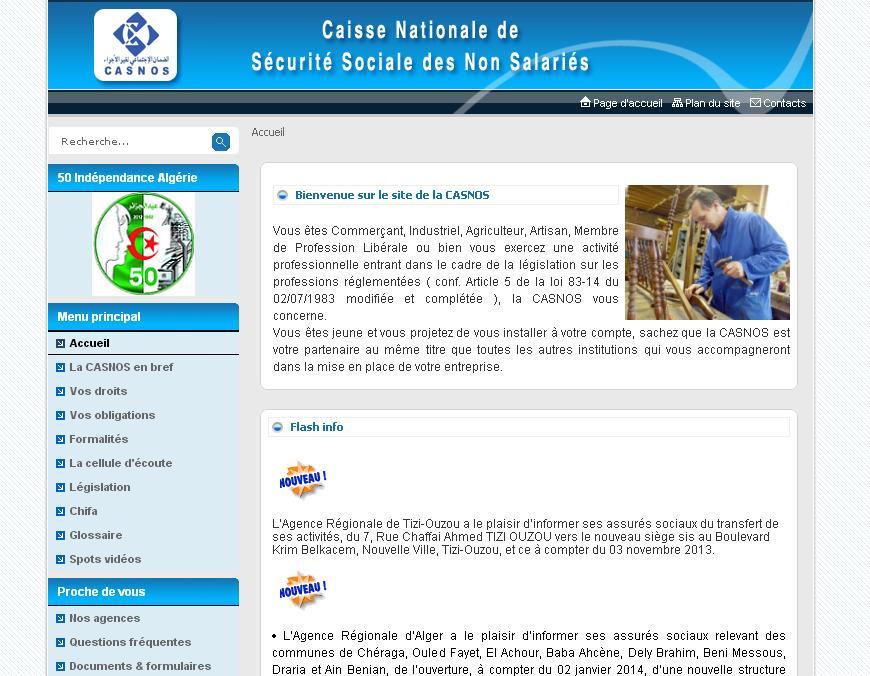 casnos.com.dz Caisse Nationale de Sécurité sociale des travailleurs non salariés Algérie calcul retraite cotisation comptabilisation