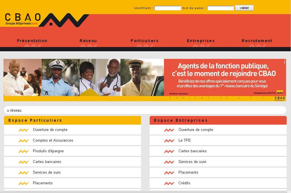 cbao.sn Bank Compagnie Bancaire de l'Afrique Occidentale Sénégal