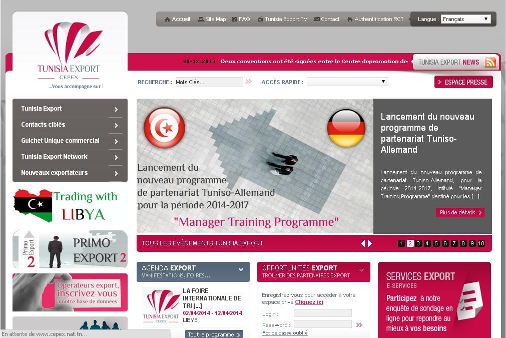 cepex.nat.tn Centre de promotion des exportations Tunisie Export Commerce international