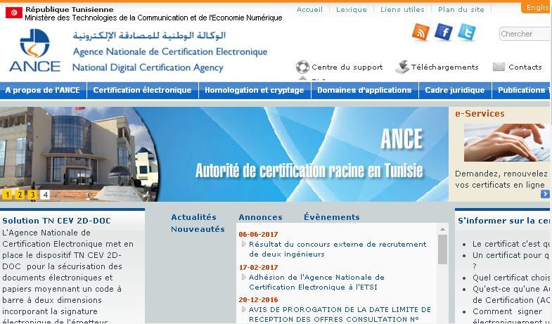 certification.tn ANCE Agence Nationale de Certification Electronique Tunisie الوكالة الوطنية للمصادقة الإلكترونية