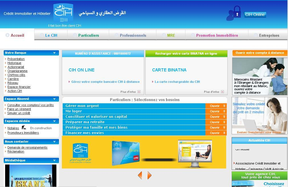 cih.co.ma Banque Crédit immobilier et hôtelier en Ligne Maroc
