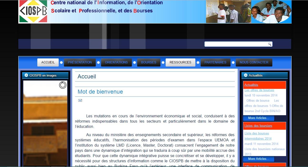 ciospb.bf Centre d'info et orientation scolaire Professionnel et de Bourses Burkina Faso