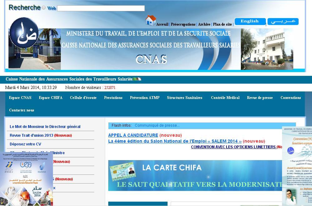 cnas.dz Caisse Nationale des Assurances Sociales des Travailleurs Salariés Algérie retraites org dz