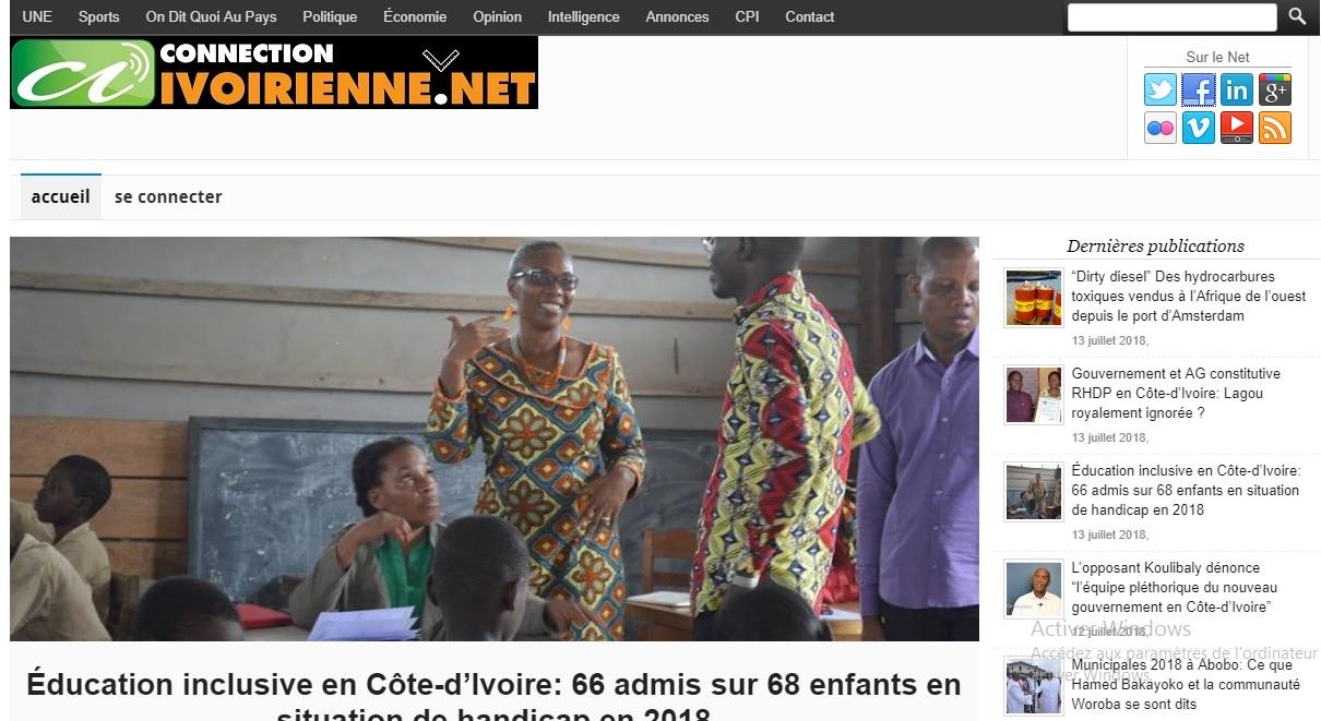connectionivoirienne.net Journal la connection ivoirienne actualité du jour au cote d'ivoire titrologie d'aujourd'hui abidjan ci