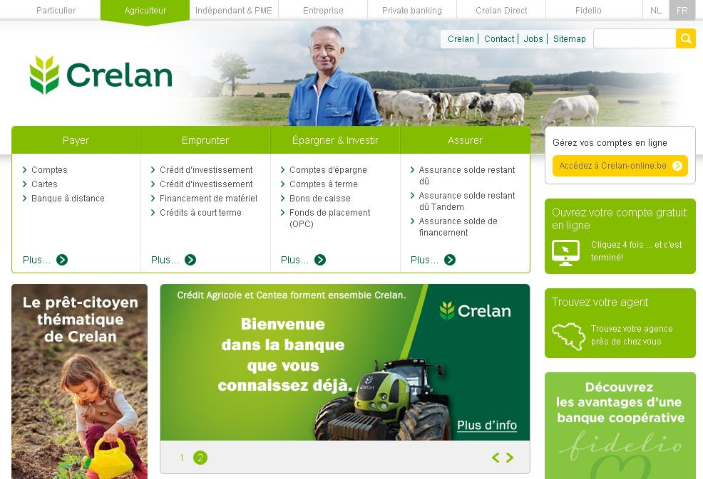 crelan.be Banque Belge Crélan Crédit Agricole Centea bank e-banking