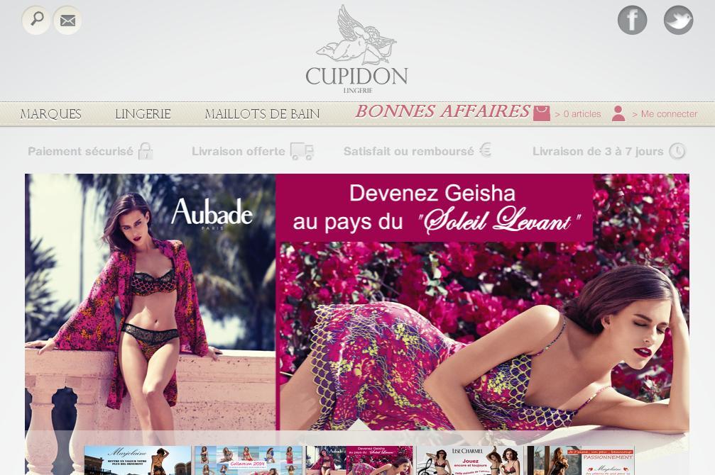 cupidonlingerie.fr Cupidon Lingeri boutique de lingerie femme Lyon France soldes promo nuisette guepiere