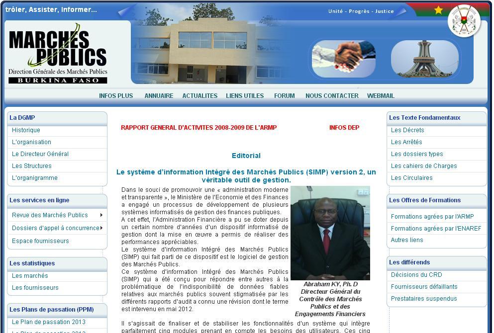 dcmp.bf Direction Générale des Marchés Publiques Burkina Faso appels d'offres cahiers des charges publics