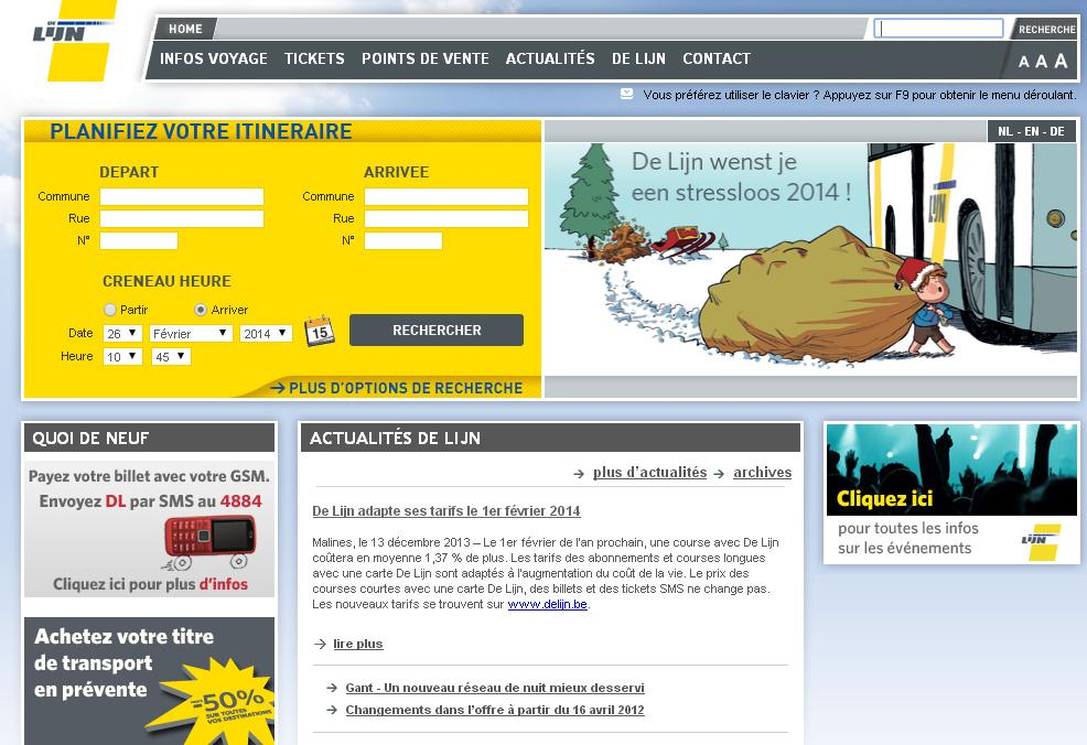 delijn.be De Lijn Horaires Bus Routeplanner dienstregeling Belgique sms realtime