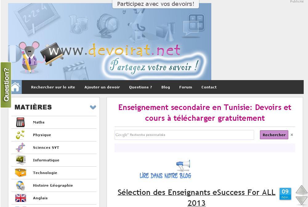 devoirat.net Téléchargez Devoirs et Séries Corrigés Tunisie