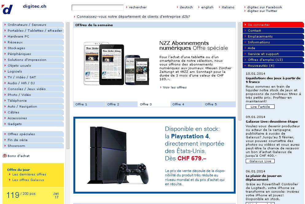 digitec.ch Shop Fournisseur Suisse Magasin en ligne Lausanne Horaire Lenens Malley Solution Beta zürich