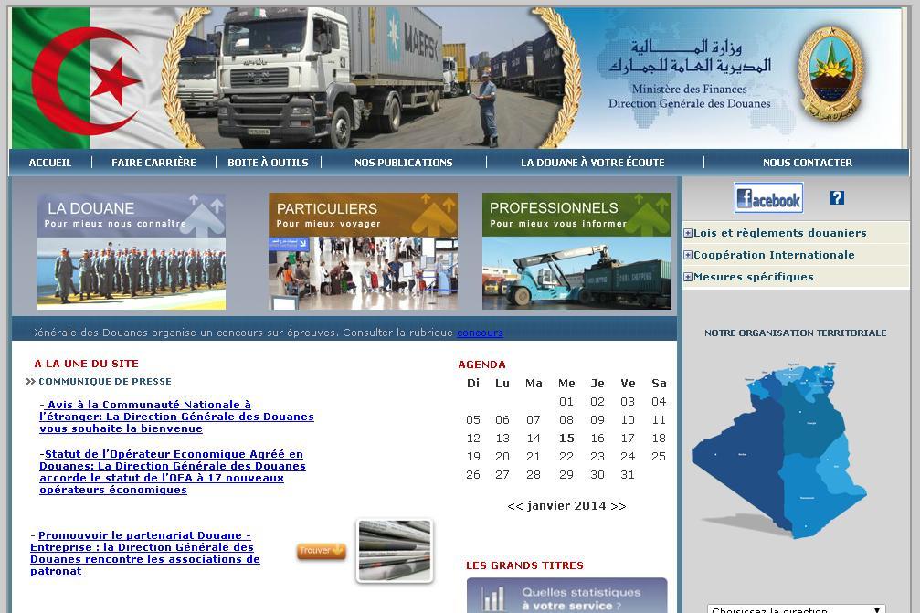 douane.gov.dz Douanes Algérie Ministère des finances : Direction générale des douanes DGD dz Concours Douane tarif douanier