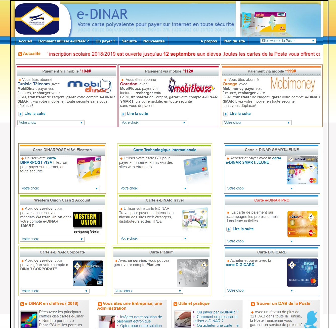 e-dinar.poste.tn Dinar Electronique La Poste Tunisie edinar smart universel Digicard jeune