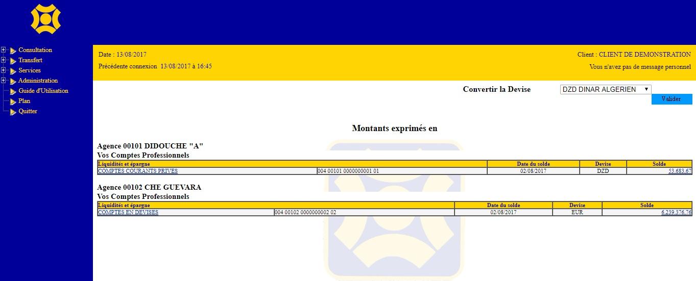 ebanking.cpa-bank.dz Banque Crédit Populaire D'Algérie cpa ebanking e banking identification crédit immobilier agence pré domiciliation