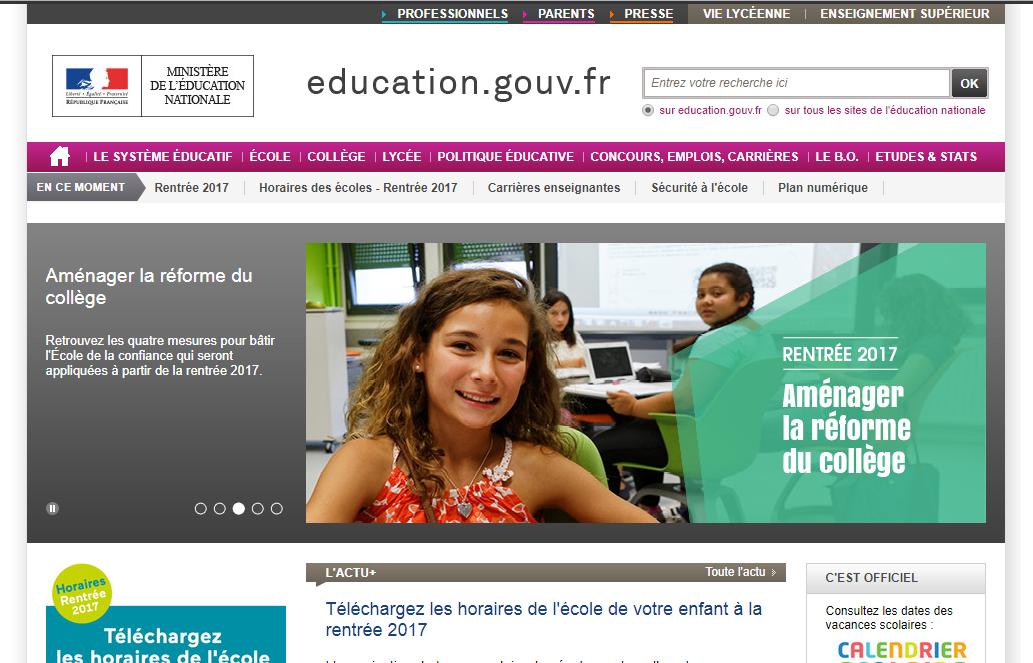 education.gouv.fr Menesr Ministère de l'éducation nationale France collège brevet lycée bac