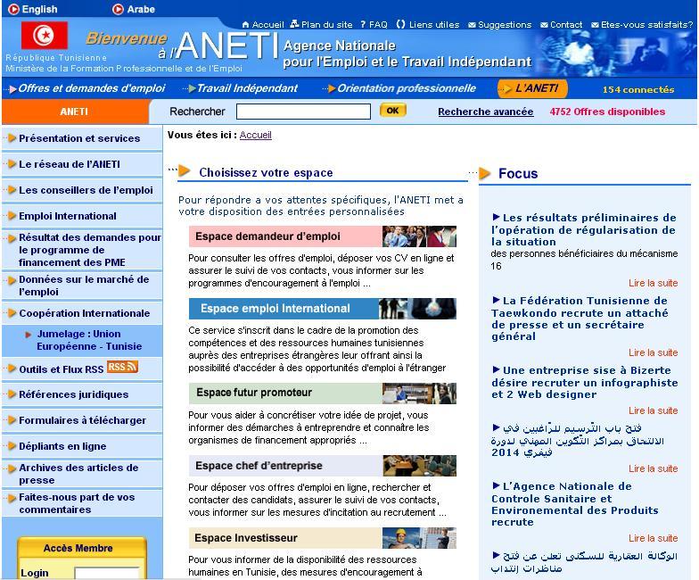 emploi.nat.tn Agence Nationale Emploi et le Travail Indépendant Tunisie Recrutement ANETI Concours pointage Gov.tn Steg Douane