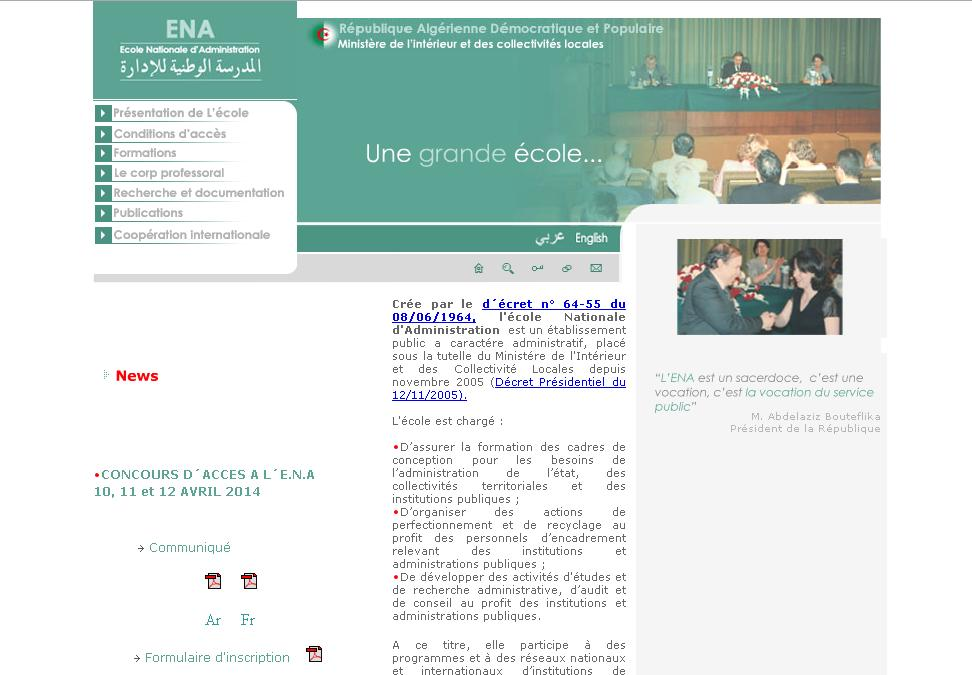 ena.dz Ecole nationale d'administration Algérie concours résultats cerist dz
