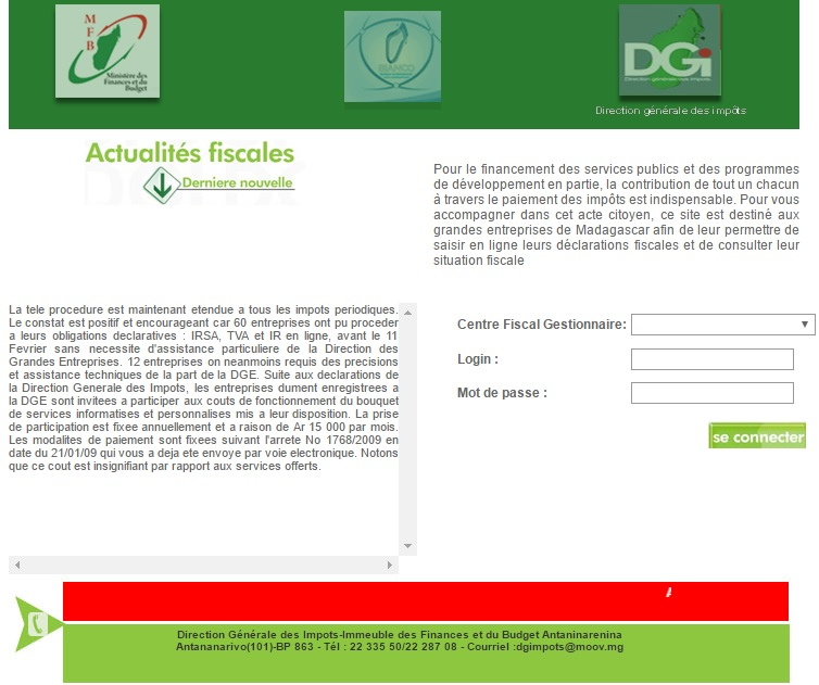 entreprises.impots.mg Direction Générale Des Impôts Madagascar DGI mg service entreprises Déclaration Fiscal impot gouv