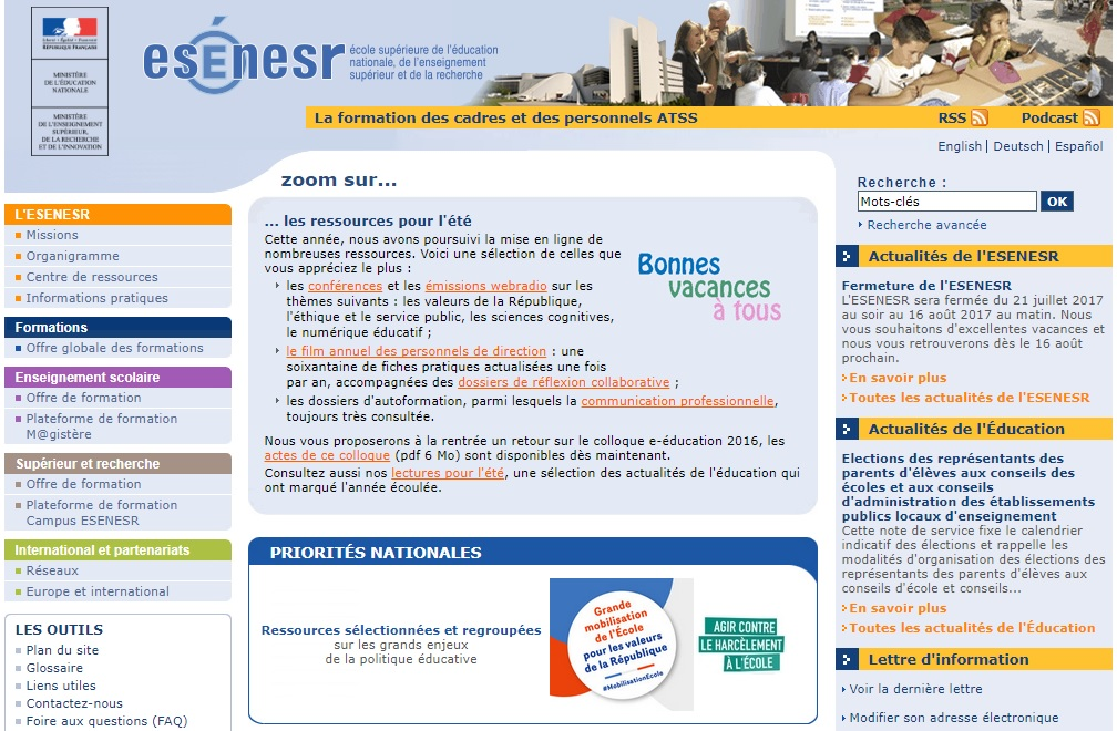 esen.education.fr École supérieure de l'éducation nationale ESEN France poitiers ESENESR