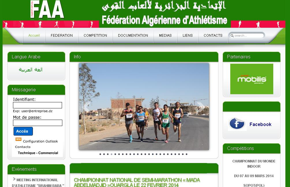 faa.dz Fédération Algérienne d'Athlétisme licenses certificates airmen certification listes qualifiés