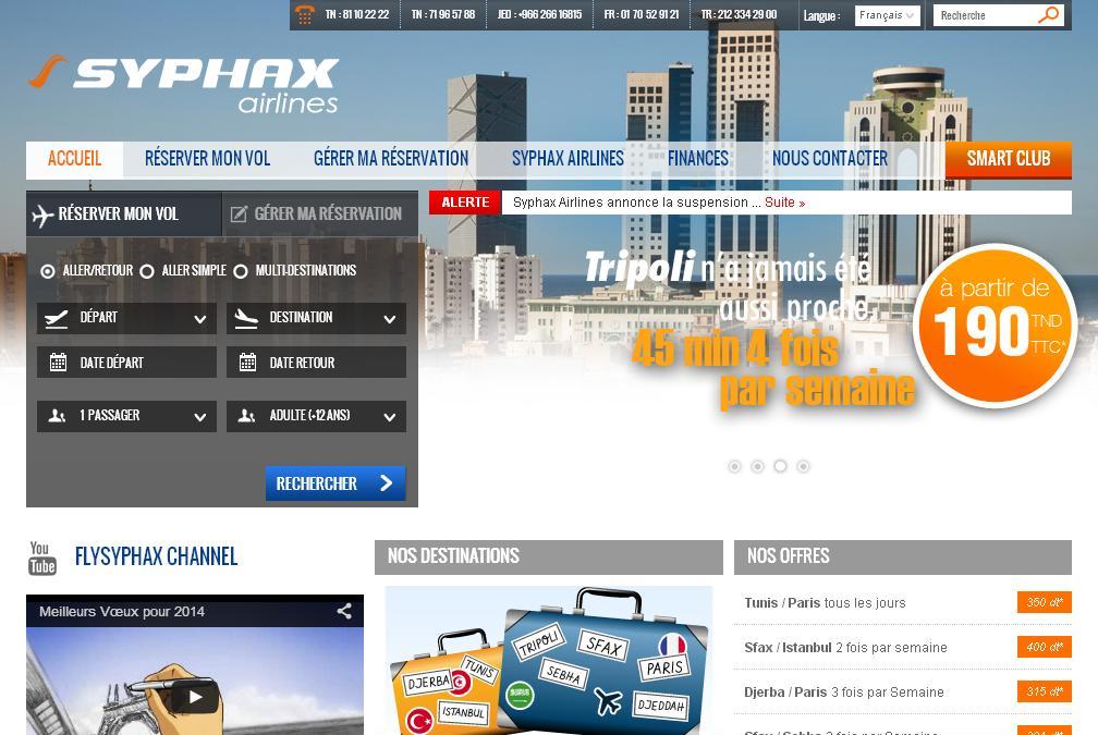 flysyphax.com Syphax Airlines Tunisie Réservation Billets Avion pas cher Paris Tunis Rome Sfax tn